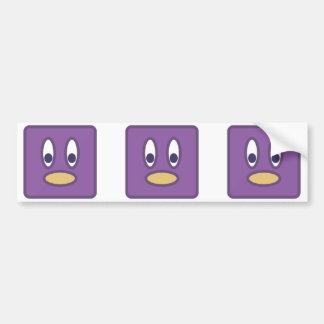Square Purple Penguin Head Car Bumper Sticker