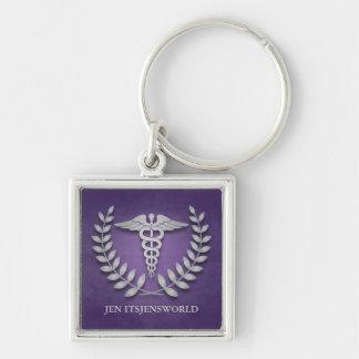 Square Purple & Silver Medical Caduceus Custom Keychain