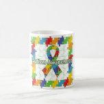 Square Puzzle Autism Awareness Ribbon Coffee Mugs