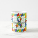 Square Puzzle Autism Awareness Ribbon Classic White Coffee Mug