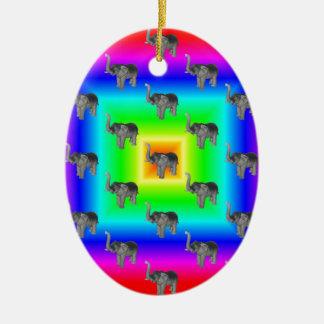 Square Rainbow Burst Elephant Pattern Ceramic Ornament