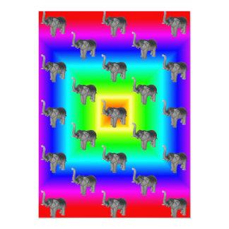 "Square Rainbow Burst Elephant Pattern 5.5"" X 7.5"" Invitation Card"