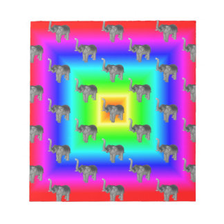 Square Rainbow Burst Elephant Pattern Note Pad