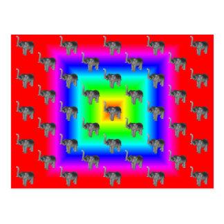 Square Rainbow Burst Elephant Pattern Postcard