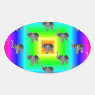Square Rainbow Burst Elephant Pattern Oval Sticker
