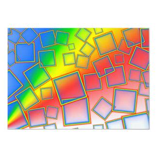 "Square rainbows 5"" x 7"" invitation card"