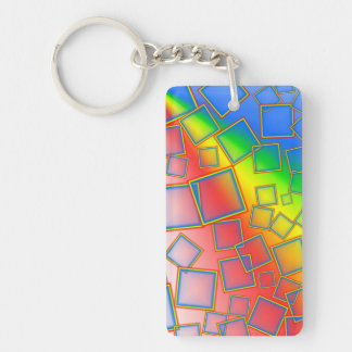 Square rainbows rectangle acrylic keychains