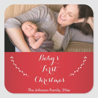 Square Red Babies First Christmas Photo Stickers