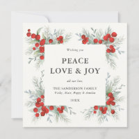 Square Red Berries Border Peace Love   Joy Holiday