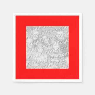 Square Red Border Photo Paper Napkin