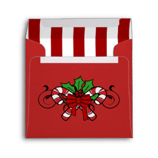 Square Red Candy Cane Striped Christmas Envelope