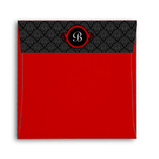 Square Red Damask Flap Monogram Envelopes