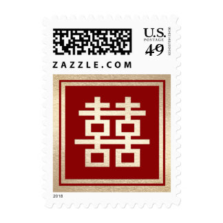 Square Red Double Happiness Chinese Wedding Stamps