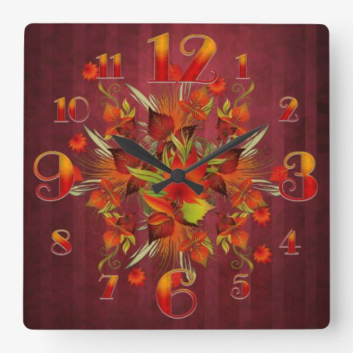 Square Red Flurry or Autumn Leaves Wall Clock
