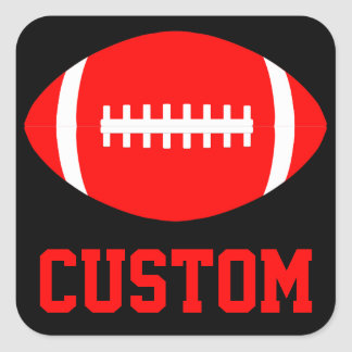 Square Red Football Sticker for Team Party or Game