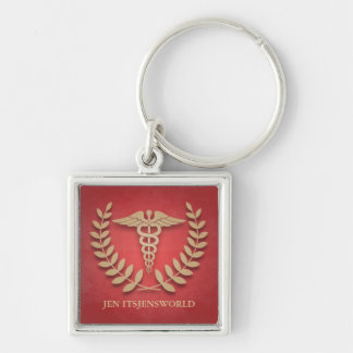 Square Red & Gold Medical Caduceus Custom Keychain