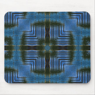 Square Reflections Blue Geometric Mouse Pad