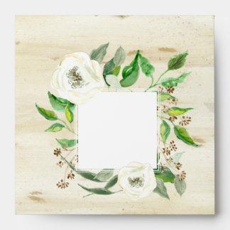 Square Return Address Boho Leaf Wreath Rose Wood Envelope