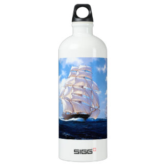 Square rigged ship at sea aluminum water bottle