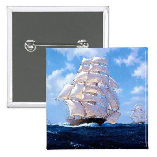 Square rigged ship at sea button