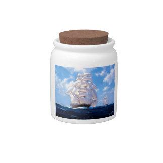 Square rigged ship at sea candy jar