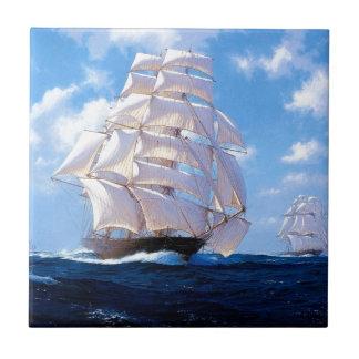 Square rigged ship at sea ceramic tile
