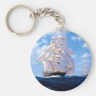 Square rigged ship at sea keychain
