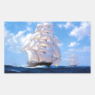 Square rigged ship at sea rectangular sticker