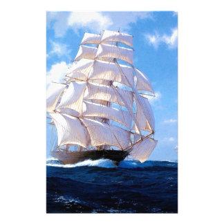 Square rigged ship at sea stationery