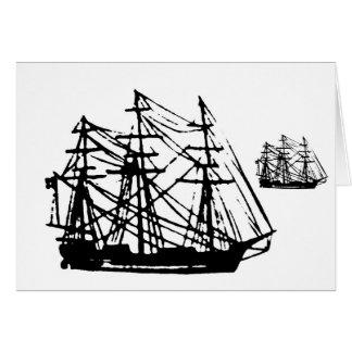Square rigged ship greeting card