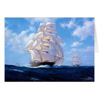 Square-rigged ships at sea card