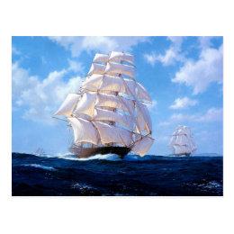 Square riggers under full sail postcard