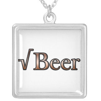 Square Root Beer Square Pendant Necklace
