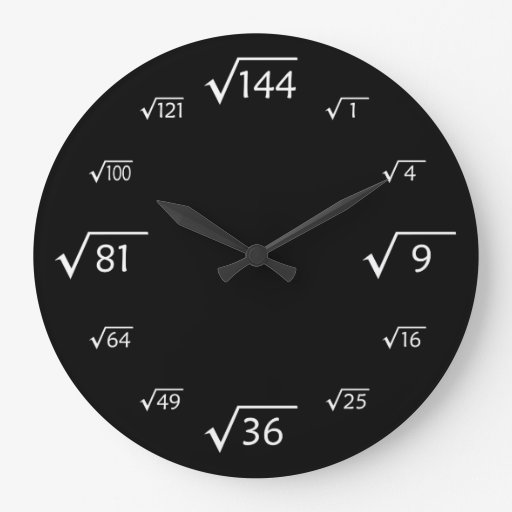 Square Root Large Wall Clock Black White Zazzle