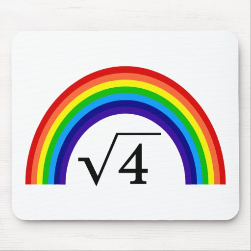 Square Root of 4 Equals Rainbow Mousepads