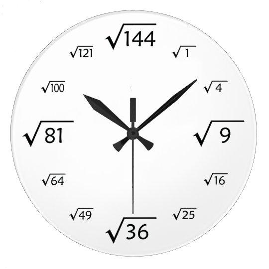 Square Root Wall Clock White Black Zazzle Com