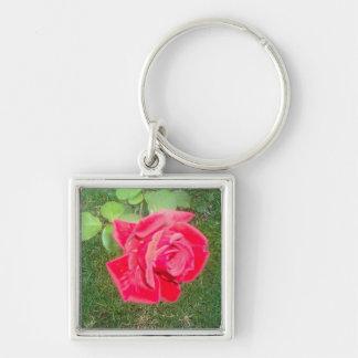 Square Rose Art Key Ring