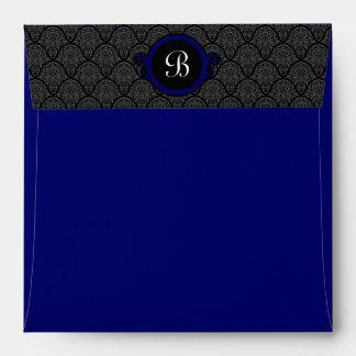 Square Royal Blue Damask Flap Monogram Envelopes