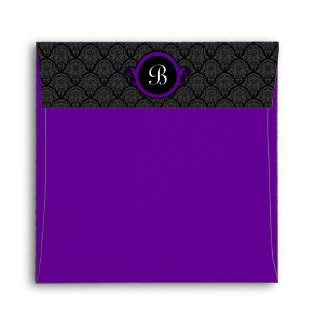 Square Royal Purple Damask Flap Monogram Envelopes