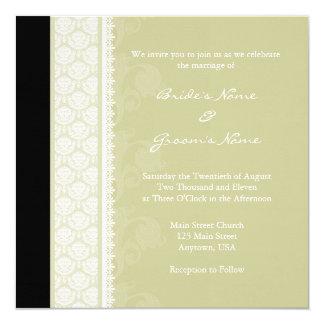 Square Sage One-Side Damask Wedding Invitations
