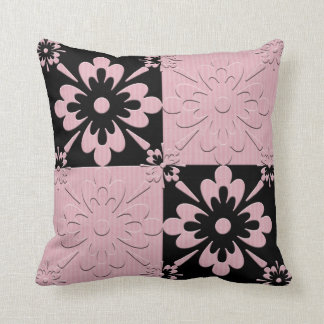 Square scatter cushion with faux appliqué design throw pillow