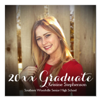 Square Shading Graduation Announcement Photo Card