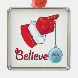 Square Shaped Believe Metal Ornament
