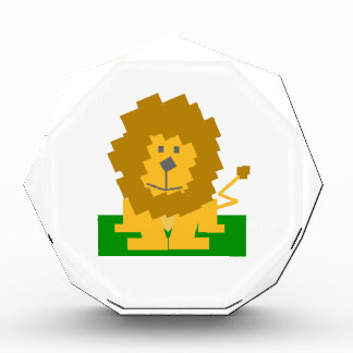 Square Shaped Cartoon Lion on Green Platform Awards