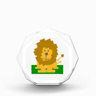 Square Shaped Cartoon Lion on Green Platform Acrylic Award
