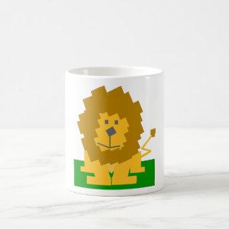 Square Shaped Cartoon Lion on Green Platform Mugs