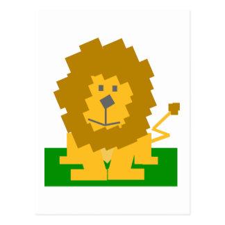 Square Shaped Cartoon Lion on Green Platform Postcard