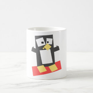 Square Shaped Cartoon Penguin Atop a Red Block Coffee Mugs