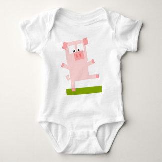 Square Shaped Cartoon Pig Standing on One Hoof Baby Bodysuit