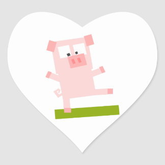 Square Shaped Cartoon Pig Standing on One Hoof Heart Sticker